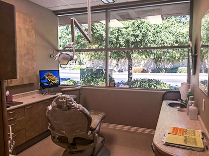 Dental chair inside the office of Davis Dental Practice in Davis, CA